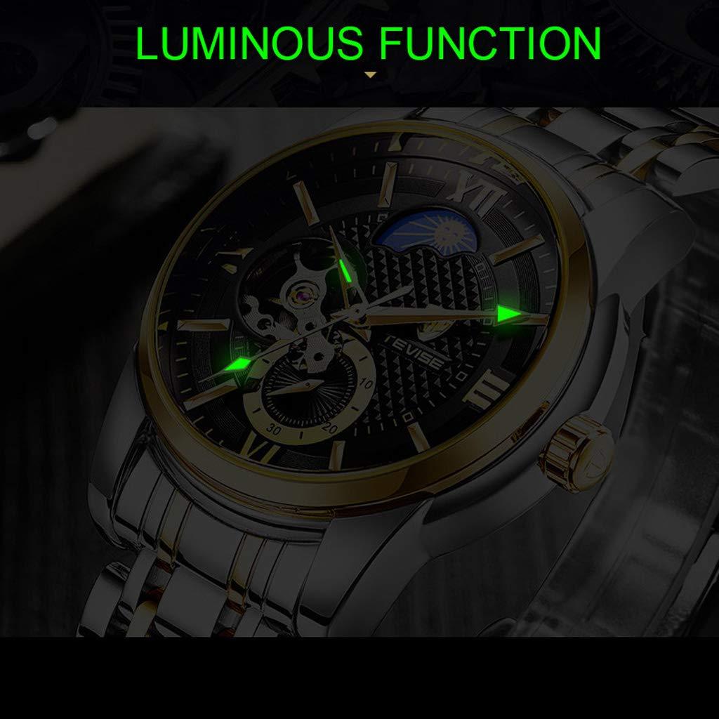 Vattentät enkel affärs vardaglig armbandsur, självlysande automatiskt mekaniskt skelett herrklocka - flerfärgad vit