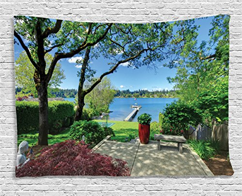 Ambesonne Lake House Decor Tapestry by, Seascape Scenery in a Back Yard Garden with Bright Tree Leaves and Statue Photo, Wall Hanging for Bedroom Living Room Dorm, 60WX40L Inches, Multi from Ambesonne