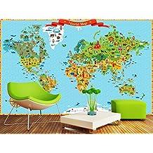 Sproud Custom Papel De Parede Infantil,Landmarks World Map,3D Cartoon Mural For Living Room Children'S Room Park Wallpaper 400Cmx280Cm