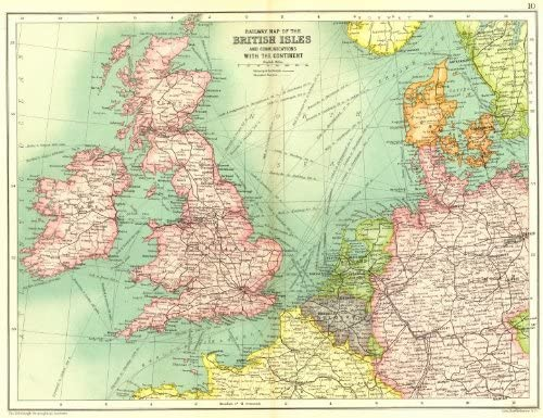 Map Of Germany France And Belgium.Amazon Com British Isles Railways Steamer Routes France Belgium