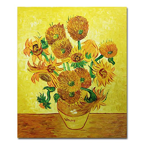 Sunflowers Reproduction - Muzagroo Art Oil Paintings Van Gogh Vase with Fifteen Sunflowers Reproduction for Wall Decoration Hand Painted Framed (20x24in)