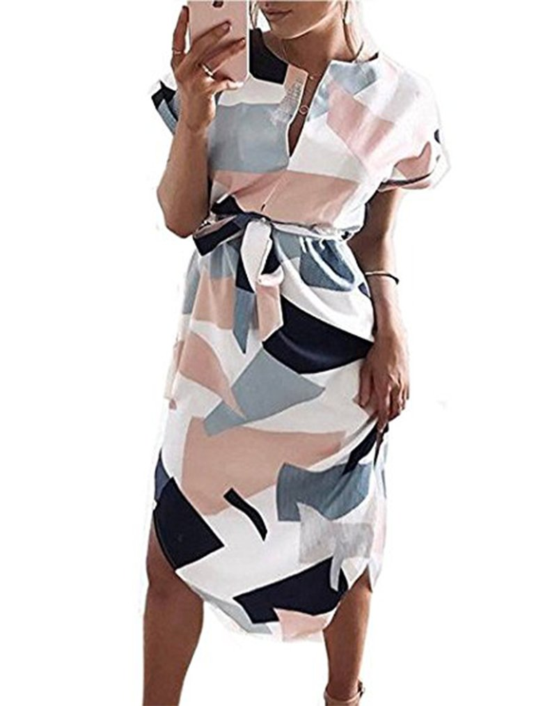 Kancystore Midi Dress for Women, Geometric Pattern High Waist with Belt (White, L)