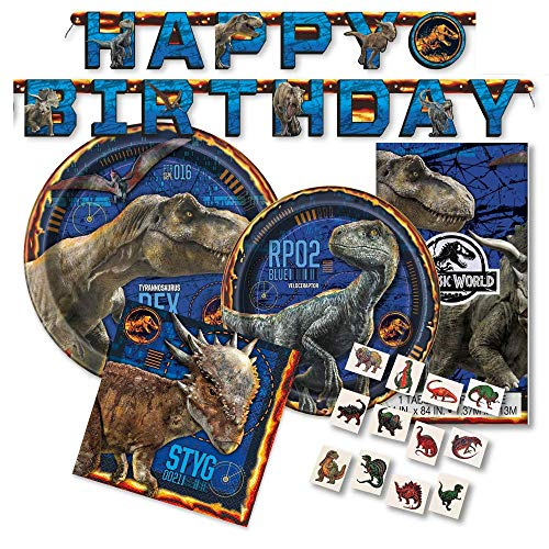 Jurassic World Party Supplies Pack for 16 Guests - Includes Paper Plates, Napkins, Banner, Tattoos by FAKKOS -