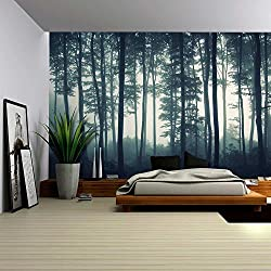 wall26 Landscape Mural of a Misty Forest - Wall Mural, Removable Sticker, Home Decor - 100x144 inches