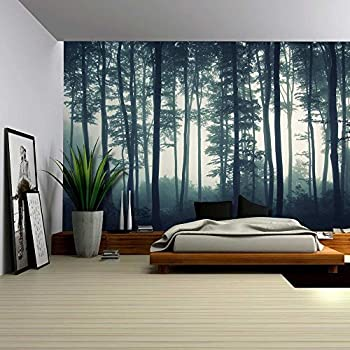 Amazoncom wall26 Landscape Mural of a Misty Forest Wall Mural