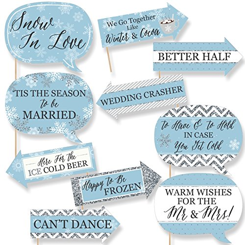 Big Dot of Happiness Funny Winter Wonderland - Snowflake Holiday Party & Winter Wedding Photo Booth Props Kit - 10 Piece