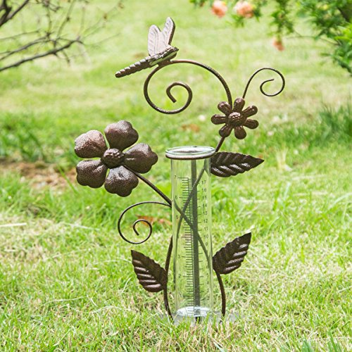 7'' Dragonfly Metal and Glass Spring Rain Gauge,Outdoor Decor by A Ting