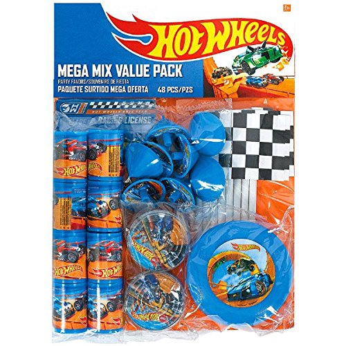 Fast Riding Hot Wheels Wild Racer Birthday Party Mega Mix Favours Value Pack, Multi Colored, Plastic, 11 1/4