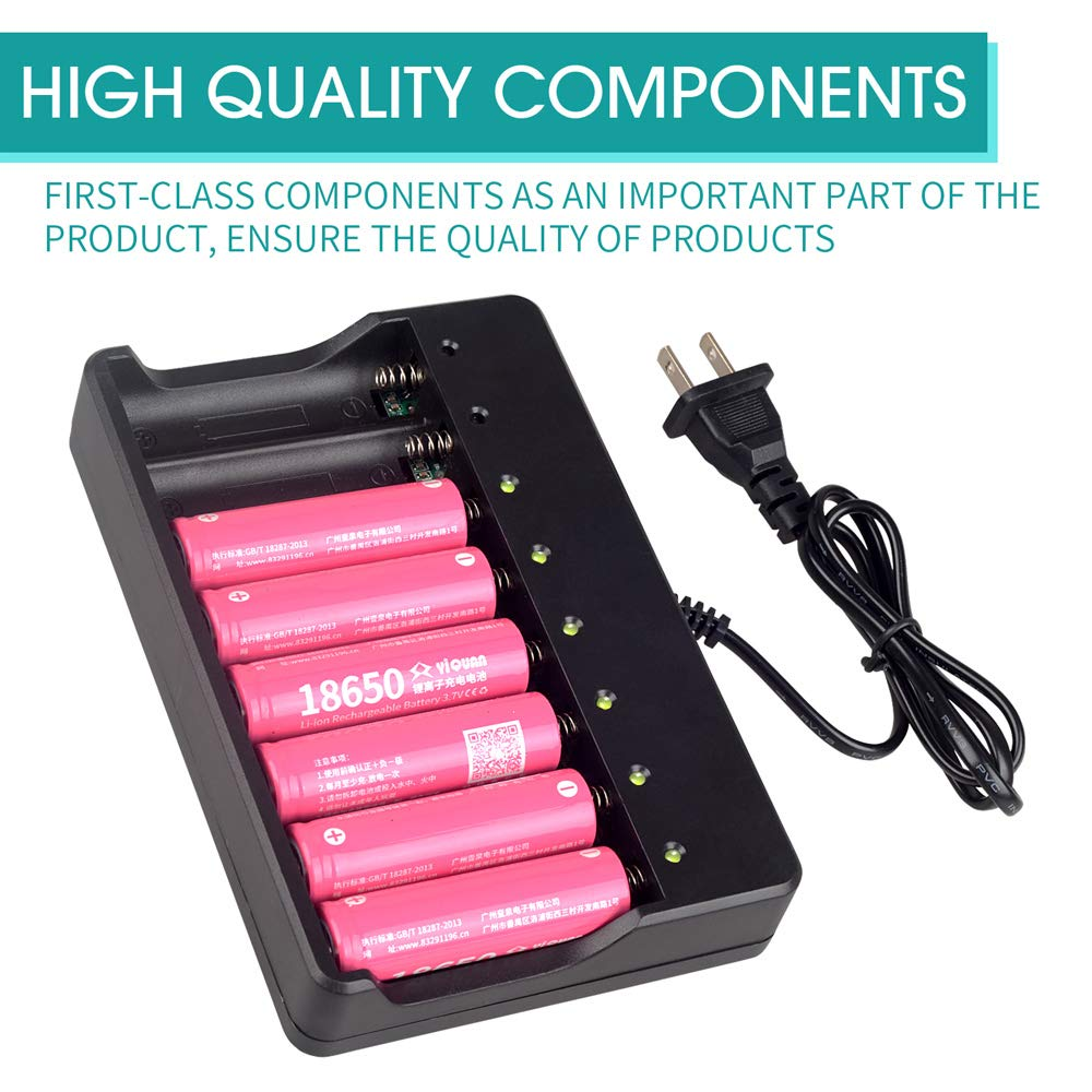 Batteries Not Includ 18650 Battery Charger 8 Bay for Rechargeable Batteries and Universal Smart Battery Charger for 18650 26650 14500 16340 18500 10440 18350 17670 AAA AA Li-Ion Intellicharge Charger