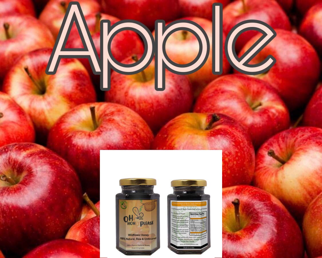Oh Honey Please - 100% Natural, Raw & Unfiltered - Apple Flavor Infused Honey (Apple)