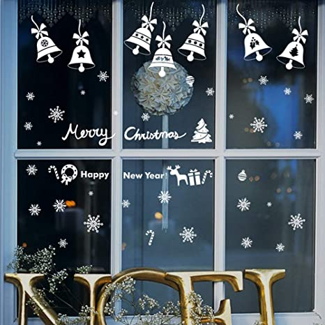190 Christmas Window Decals Stickers White Ornaments Window Decorations for Xmas Window Decor Supply White Snowflakes Window Clings Stickers for Christmas Decorations 6 Sheets