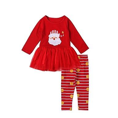 14179dbda7f04 OULII Deux Pièces Enfants Filles Bébé Noël Père Noël Chemise Pantalon Rayé  Outfit Vêtements Set -
