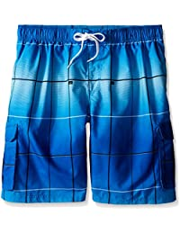 Men's Big Vector Plaid Extended Size Swim Trunks
