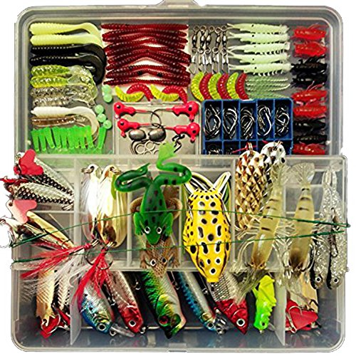 Fishing Lure Set 180pcs Set Artificial Bait Lure Plastic Fishing Lures Minnow Popper Pencil Crank Rattle with Hooks Metal Spoon Hard Baits Fresh Water