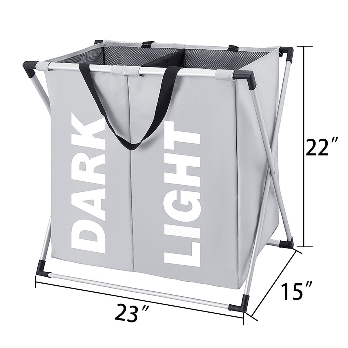 2 Section Laundry Hamper Bhomest Collapsible Laundry Basket with Sturdy Aluminum X-Frame and Mesh Foldable Dirty Clothes Bag Grey