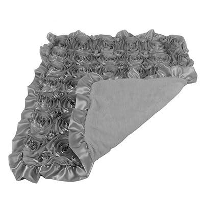 CHUBBY FOOTIQUE Baby Rosette Stroller Blanket, Plush Inner & Frilled Satin Trim