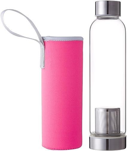 Hosaire Portable Cristal Botella con infusor de té y Protector de Funda de Nailon (Zumo de Agua Potable Filtro para Home Exterior Viaje 550 ml: Amazon.es: Deportes y ...