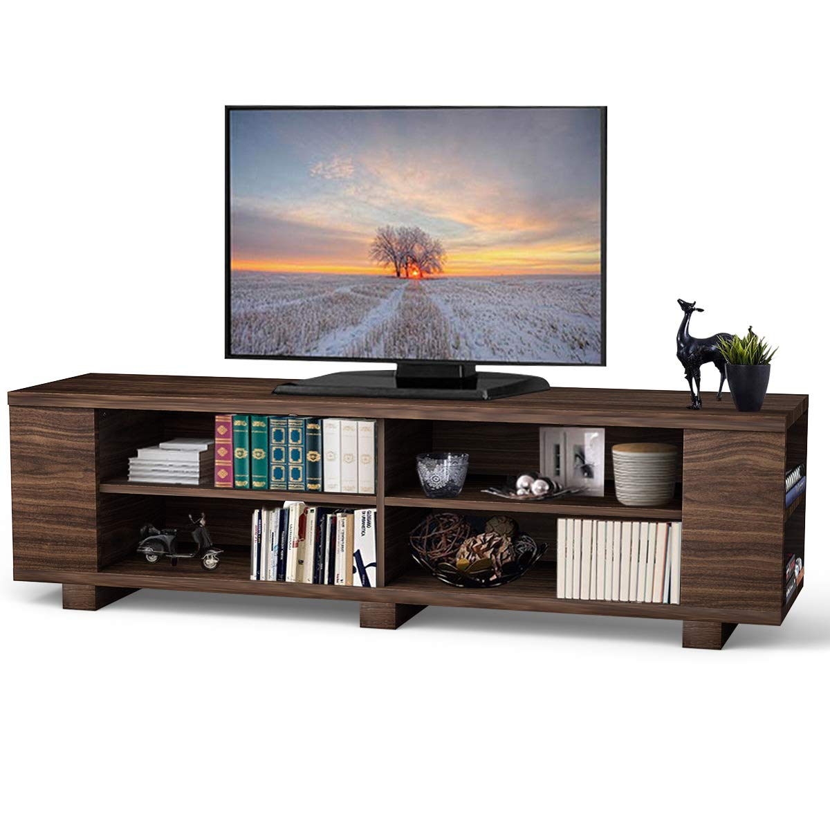 Tangkula TV Stand, Modern Wood Storage Console Entertainment Center for TV up to 60'', Home Living Room Furniture with 8 Open Storage Shelves (Coffee) by Tangkula