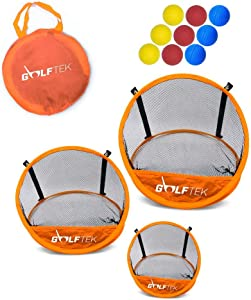 Golftek Golf Net Training Set for Chipping Practice 3 Pieces, Carrying case + 9 Foam Golf Balls, Pop up Indoor Outdoor Target, Swing Practice, Sturdy & Lightweight