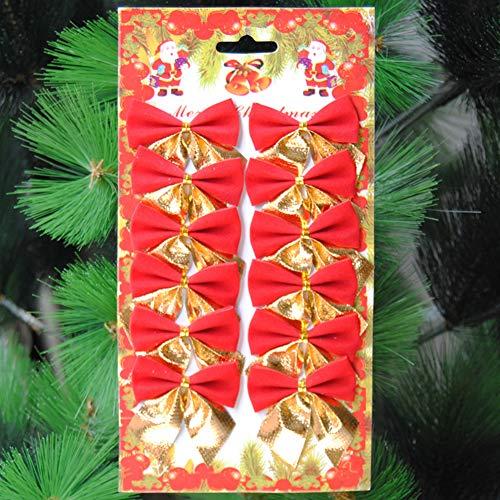 Brave669 [Christmas Decoration]-12Pcs 6cm Christmas Tree Bow Bowknot Xmas Ornament Garland Party Home Decoration,Christmas Lights