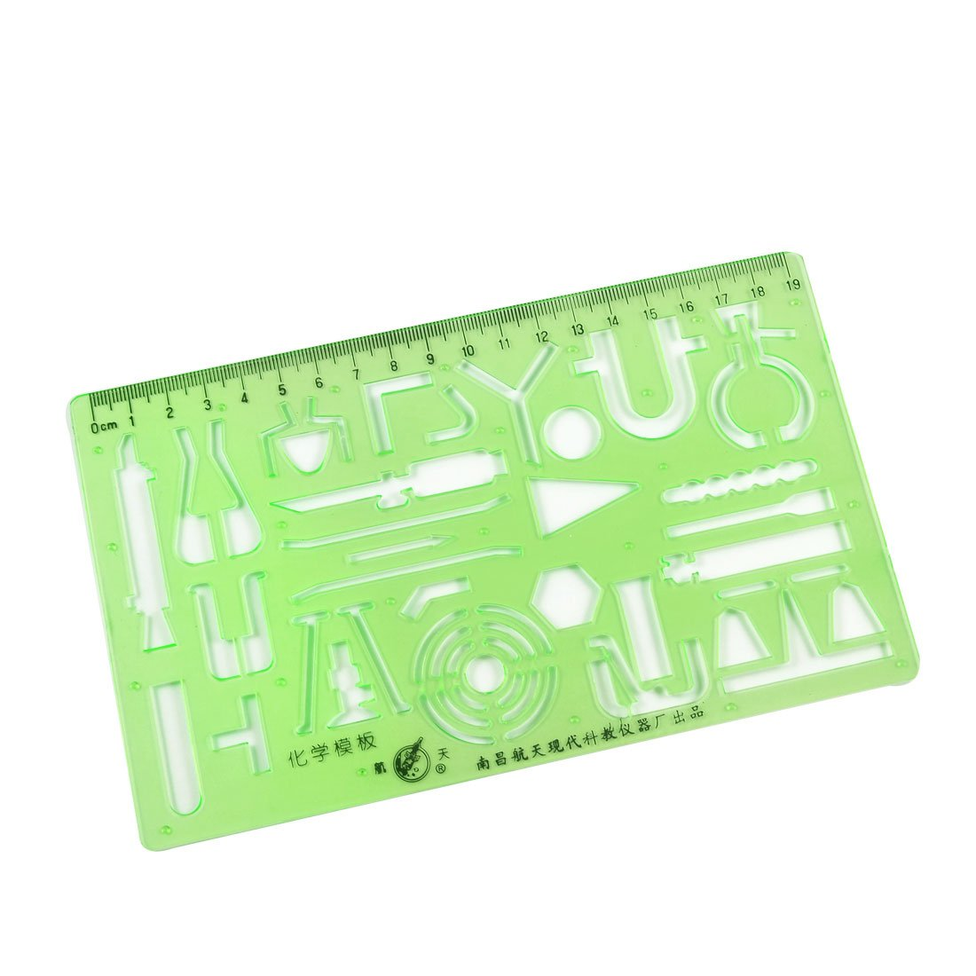 Uxcell 0-19cm Plastic Chemistry Drawing Template Ruler, Black Green