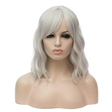 ATAYOU-WIG Mujer Hombros bob Pequeños rizos ondulados Elegante peluca (Blanco plateado)