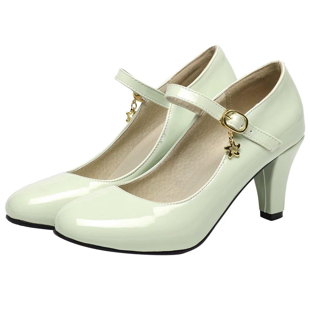 AIYOUMEI Damen Lack High Heels Pumps mit 7cm Asbatz Mary Janes Damenschuhe  Hochzeit Pumps - zahnfee-yvonne-karakus.de 0152cbdb72