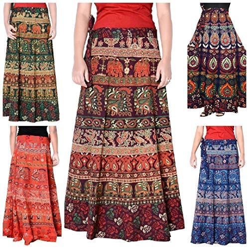 Cotton Wrap Around Skirts - Women's Multi Cotton Wrap Around Skirt Block-Printed Sanganeri Long Skirt lot of 5
