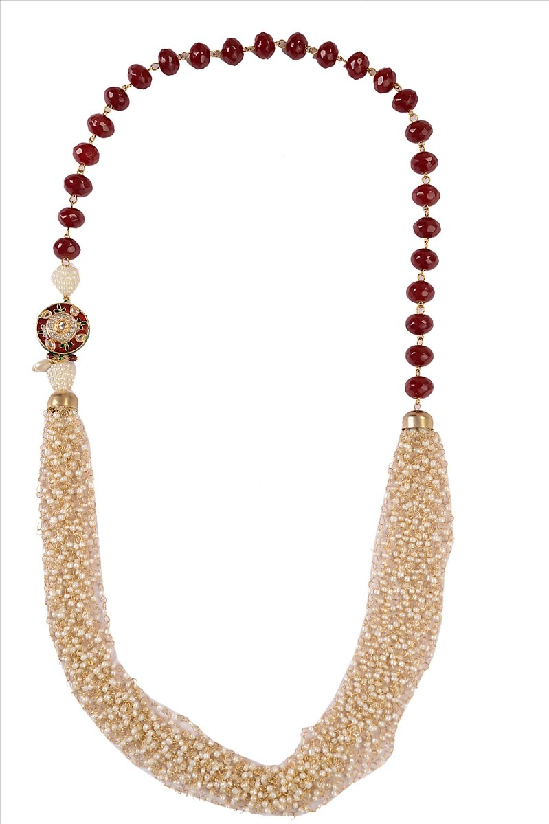 Zephyrr Fashion Long Handmade Necklace Pearl Beads Maroon Crystal Beads Meenakar