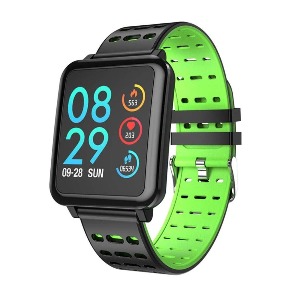 Green Smart Watches, Fitness Tracker, Heart Rate Monitor, Multiple Sports Modes Smartwatch, Call SMS Reminder Activity Trackers for Android iOS