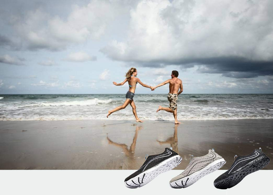 Raotes Quick Drying Aqua Water Shoes - Beach Walking Amphibious Shoes for Men Grey 45 by Raotes (Image #6)
