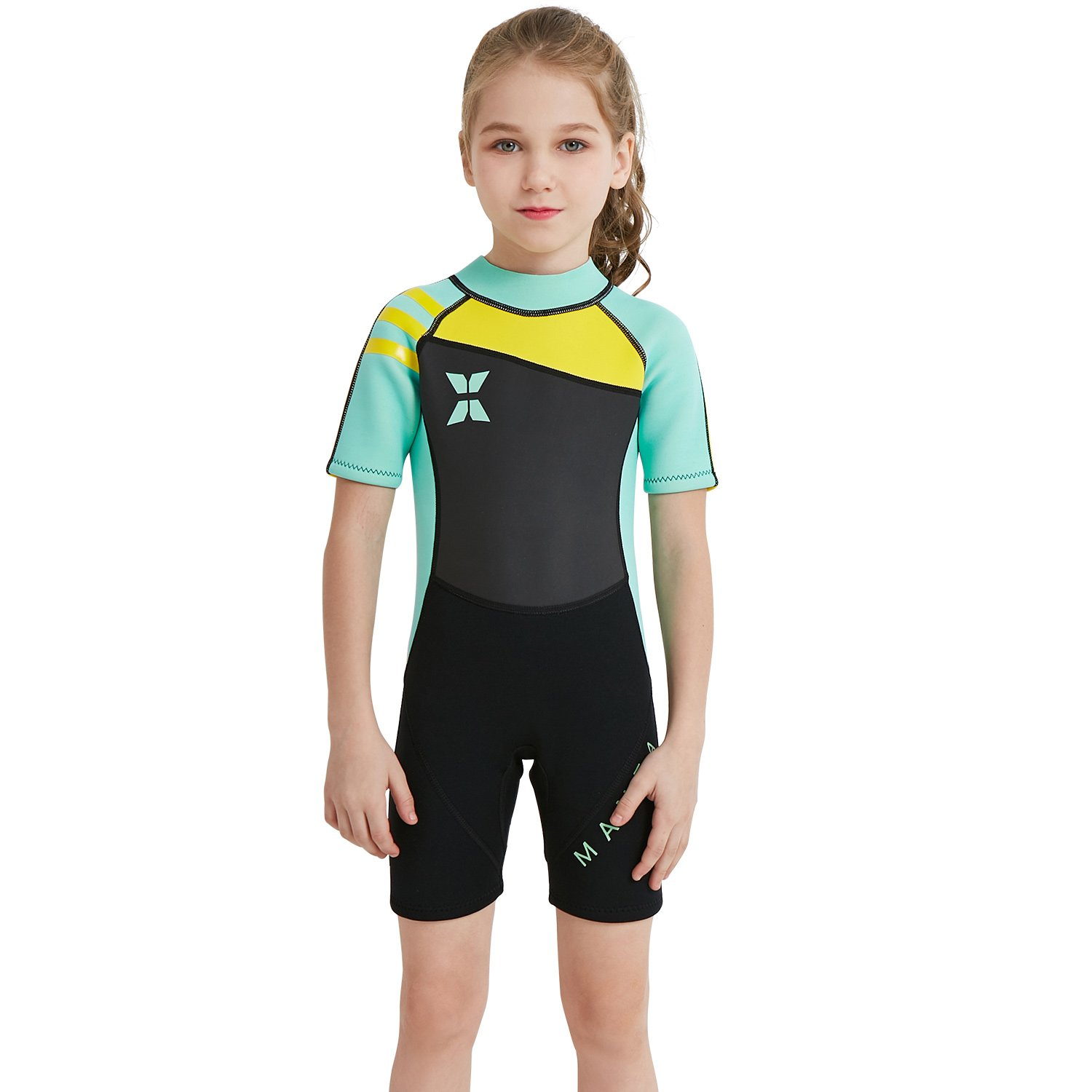 dark lightning 2mm Shorty Wetsuit Kids, Girl's Swimwear Shorty Sleeves, Children's Neoprene Diving/Surfing Swimsuit, Blue Wet Suits, L Size by dark lightning