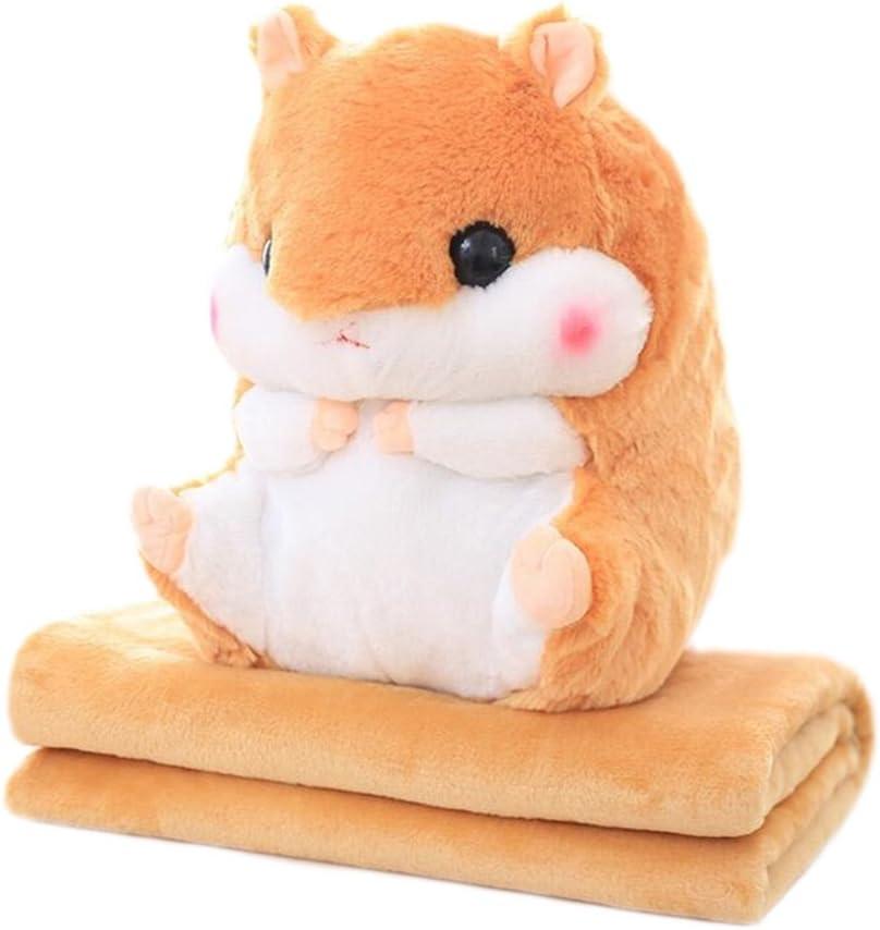 EisEyen Coussin en Peluche pour b/éb/é avec Couverture Polaire Blanket Kawaii Fluffy Hamster en Peluche Douce