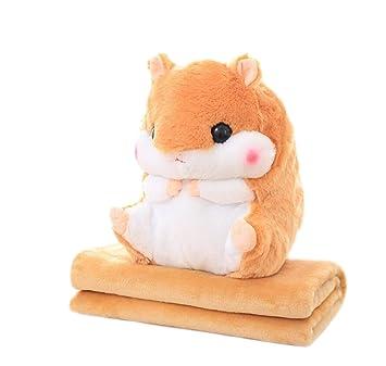 /niedliches Gef/ülltes Pl/üsch Hamster Kopfkissen Kissen Spielzeug Puppe mit Decke grau panda supermarket Tiere Kissen Decke/