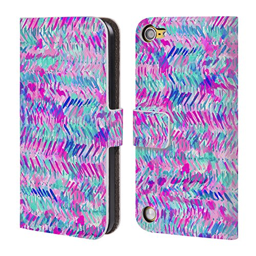 Official Jacqueline Maldonado Fervor Pink Turquoise Patterns Leather Book Wallet Case Cover For iPod Touch 5th Gen / 6th Gen