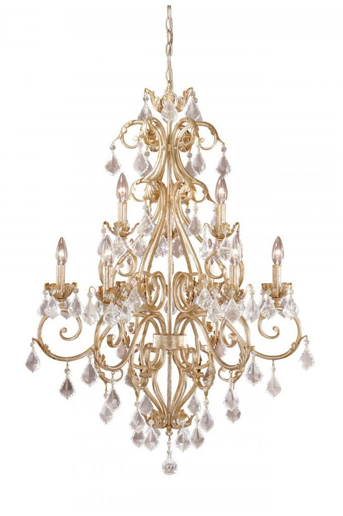 Vaxcel USA NCCHU009GW 9 Light Crystal Chandelier Lighting Fixture in White, Gold, Crystal