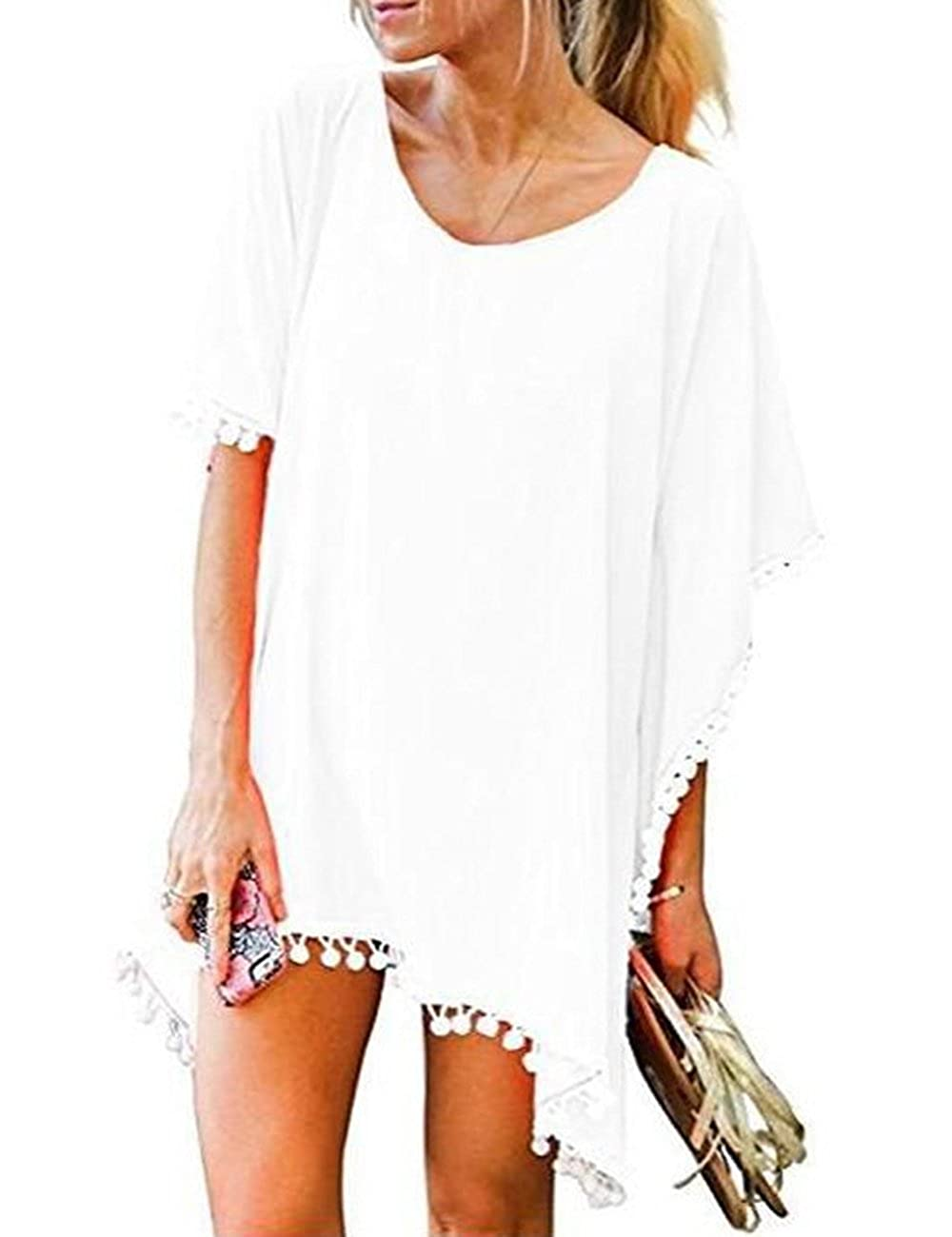 11a9670f87 Women's Pom Pom Trim Kaftan Chiffon Swimwear Beach Cover up Bathing Suit  Swimwear Bikini Swimsuit Beachwear Dress Shirt at Amazon Women's Clothing  store:
