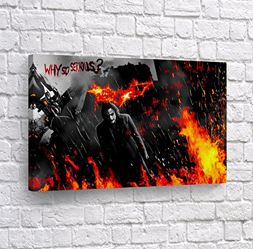 Batman The Dark Knight Heath Ledger Joker in Fire Quote Why so Serious CANVAS PRINT Wall Art Decorative Home Decor Poster Artwork Stretched- Ready to Hang -%100 Handmade in the USA - 8x12