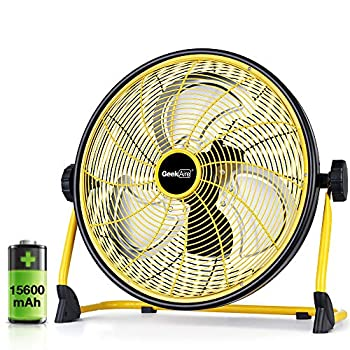 Image of Home and Kitchen GeekAire Rechargeable Outdoor High Velocity Floor Fan,16'' Portable 15600mAh Battery Operated Fan with Metal Blade for Garage Barn Gym Camp,3-24 h Run Time Cordless Industrial Fan,USB Output for Phone