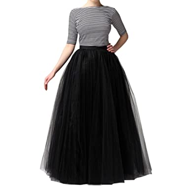 WDPL Women's Long Tutu Tulle Skirt A Line Floor Length Skirts at ...