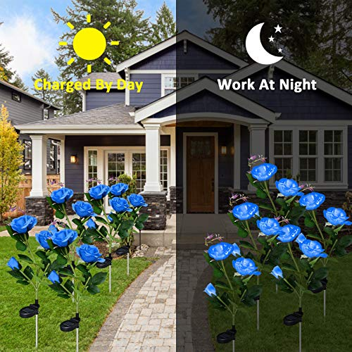 Solar Outdoor Lights, 2 Pack Garden Decor Lights Solar Powered Waterproof with 6 Roses Flowers, Garden Solar Lights Decorative Stake Lights for Garden, Courtyard, Backyard, Patio (Blue)