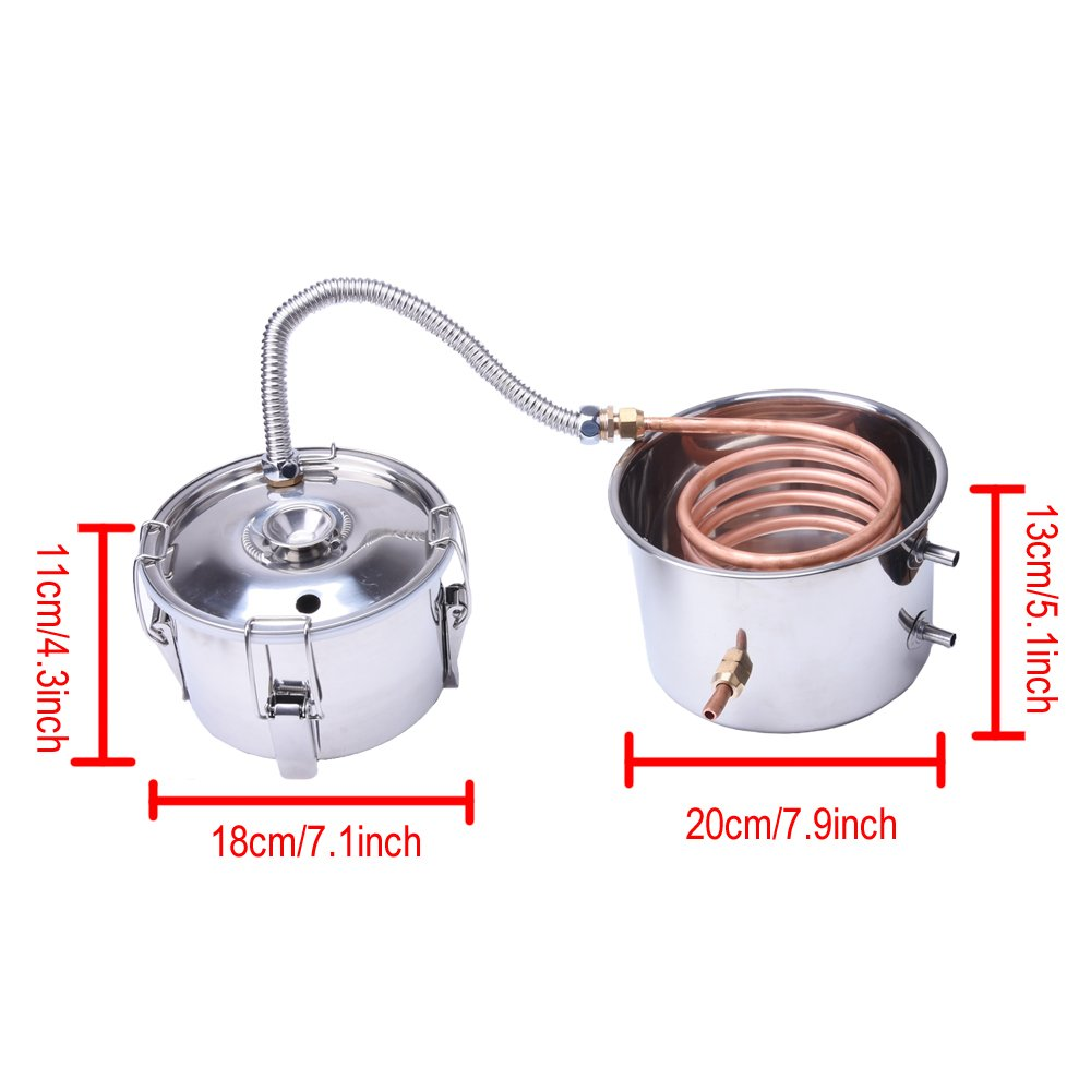 Suteck 5 Gal Moonshine Still Spirits Kit 18L Water Alcohol Distiller Copper Tube Boiler Home Brewing Kit with Thumper Keg Stainless Steel by Suteck (Image #6)