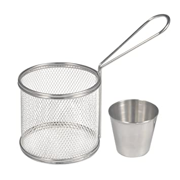 Fry Baskets, Mini redondo de acero inoxidable Frank Fries malla Fryer cesta soporte de cocina herramienta con taza de salsa para mesa servir alimentos ...