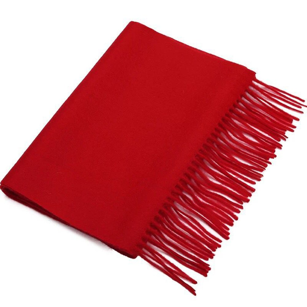 Red Cashmere & Wool Scarf Solid Color, Fashionable Thin Lightweight Scarf for Men and Women in Cold Weather with Gift Box