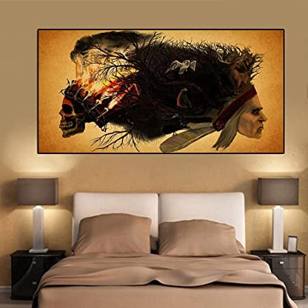 RTCKF Pintura de Arte Abstracto cráneo Coyote búho Ciervo ...
