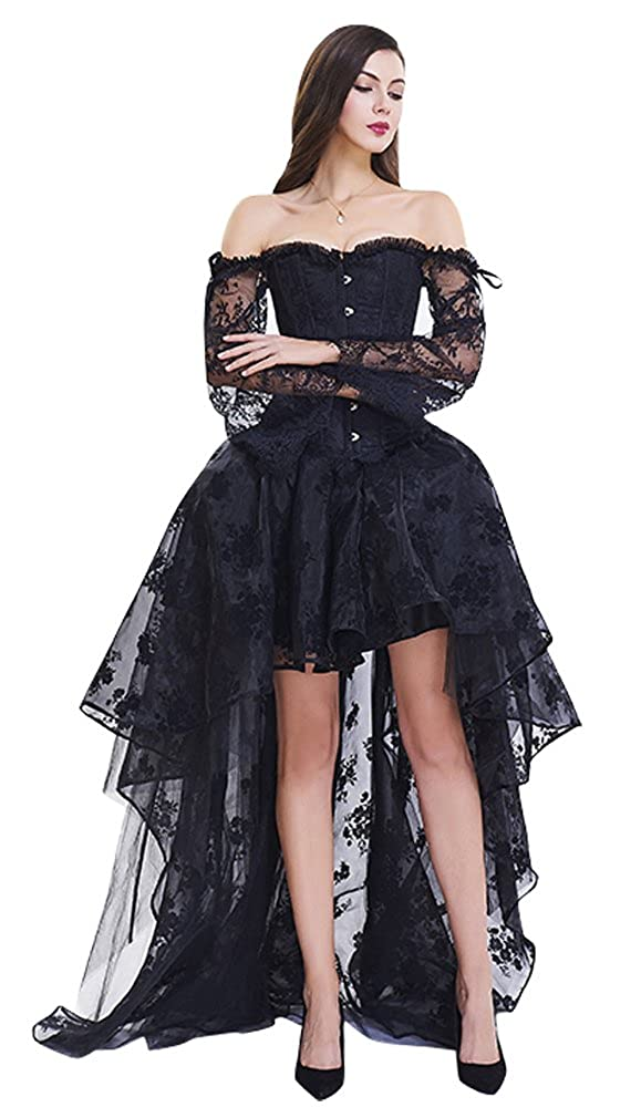 b15a0d4fd Amazon.com: Kimring Women's Steampunk Victorian Off Shoulder Corset Top  with High Low Skirt: Clothing