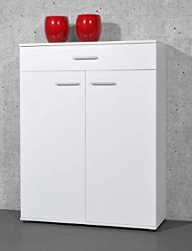 3a0f543b1a252 PEGANE Armoire Meuble à Chaussures Blanc avec 2 Portes et 1 tiroir, L 89 x