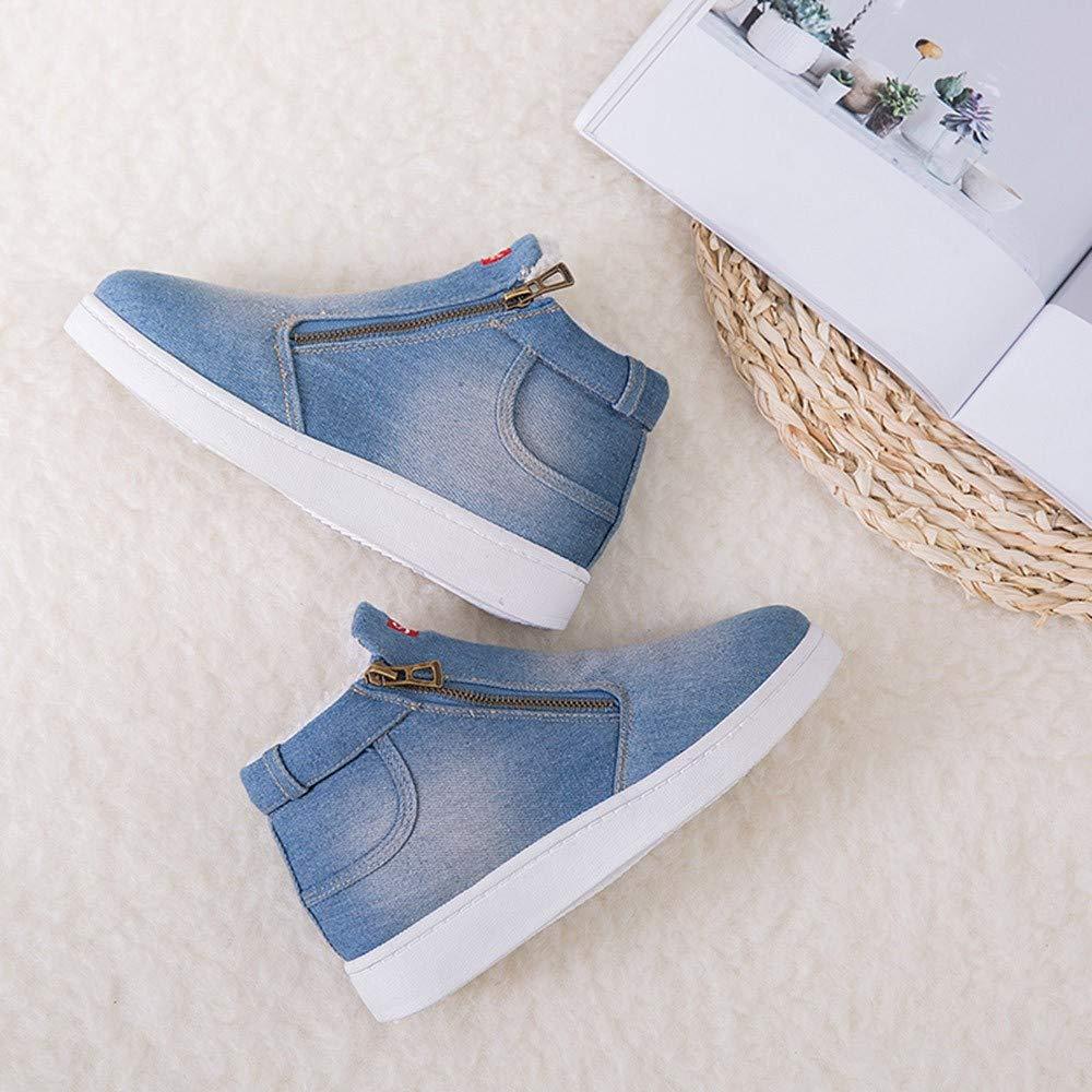 Mymyguoe Frauen Denim Schneestiefel Winter Schuhe Kunstleder Dicker Pl/üsch Gef/üttert Stiefel Junior Flacher Absatz Stiefel Warme Hausschuhe Homeboots Damen Sneaker