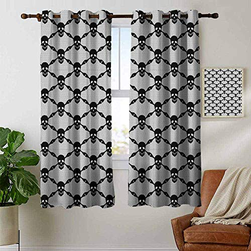 petpany Blackout Curtain Panels Window Draperies Gothic,Halloween Horror Theme Spooky Black Skulls Checkered Pattern with Skeleton Bones,Black White,for Bedroom, Kitchen, Living Room 52