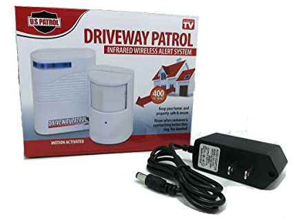 Driveway Patrol Alarm with Power Supply Battery Eliminator Wall Outlet Adapter